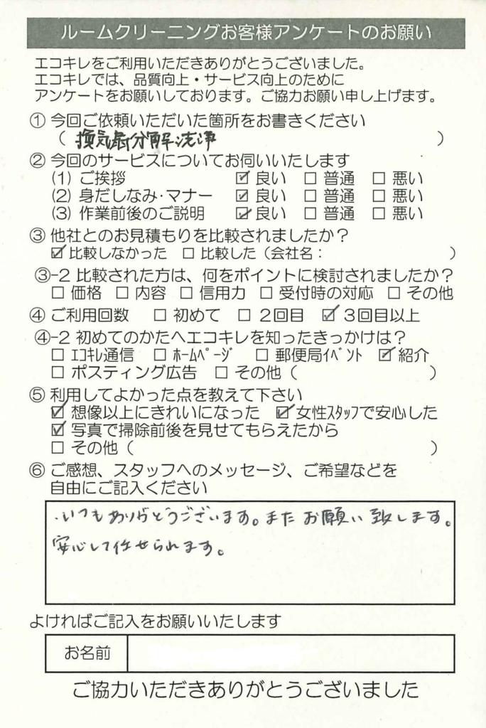 鴻巣市 ルームクリーニング  レンジフード(換気扇)