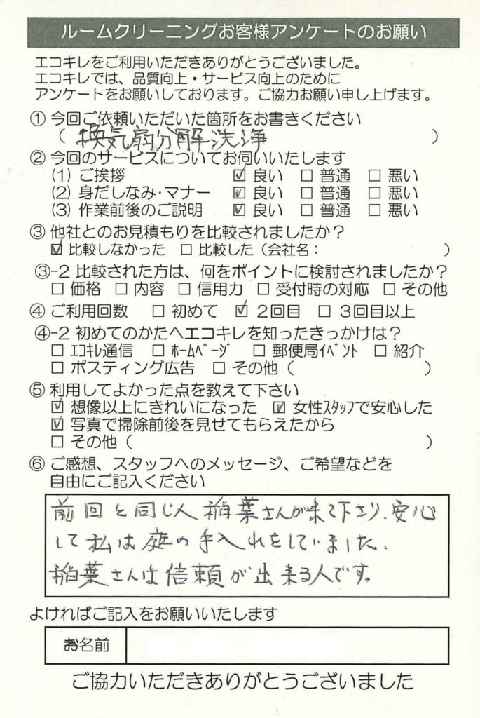川越市 ルームクリーニング レンジフード(換気扇)